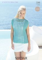 Sirdar Cotton DK Crochet Pattern - 7240 Top Knitting Pattern